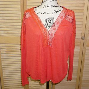 Free People Orange Long Sleeve Lace Top
